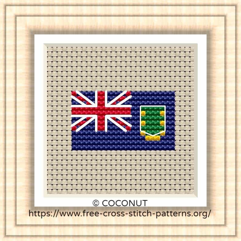 NATIONAL FLAG OF BRITISH VIRGIN ISLANDS CROSS STITCH CHART