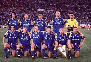 Fabrizio Ravanelli, back row, second from right, lines up with the Juventus team before the 1996 Champions League final