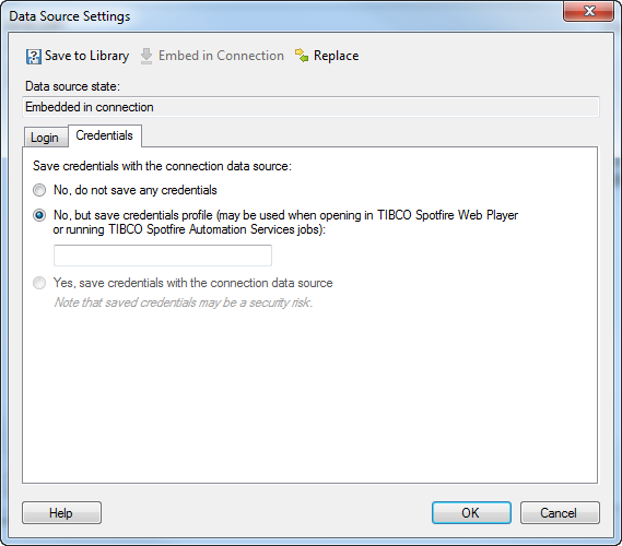 Saving credentials disabled in Datasource settings