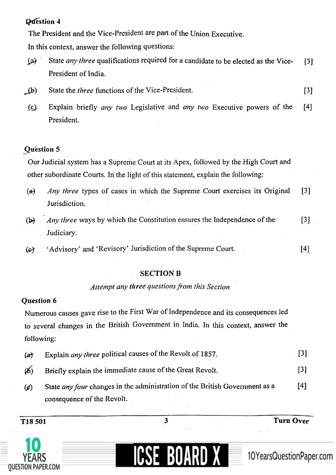 icse 2018 class 10th History & civics H.C.G Paper 1 question paper
