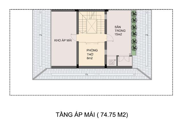Mẫu thiết kế biệt thự P1-4 An Phú Shop Villa- Tầng áp mái