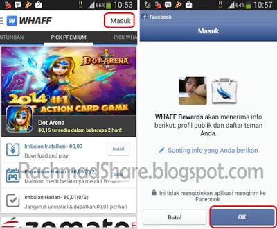 Cara Daftar Whaff : Login dengan Akun Facebook
