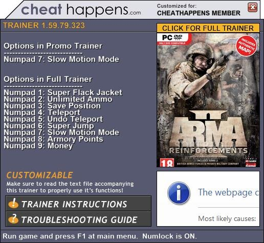 WELCOME TO HANTERSHELL FILES: ArmA 2: Reinforcements +1 Trainer