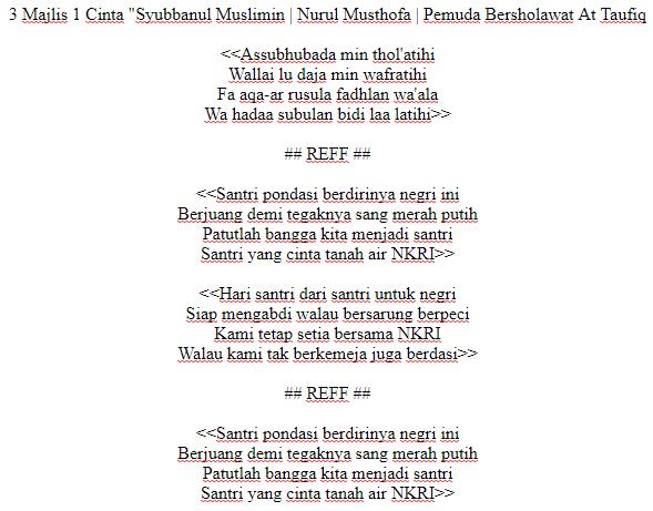 Lirik Lagu Assubhubada