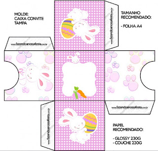 Easter Bunny with Pink and White Squares: Free Printable Boxes.