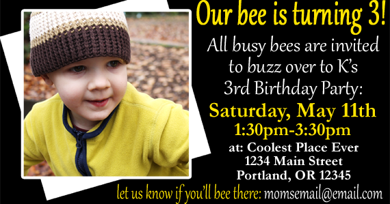 customizable bee birthday party