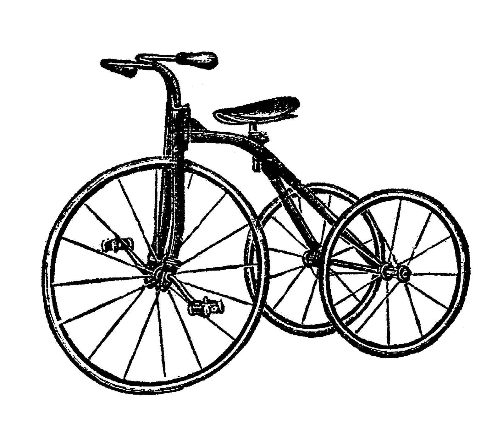 Digital Stamp Design Vintage Free Bike Tricycle Images