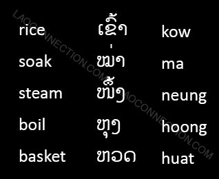 Lao Language:  Words related to cooking rice