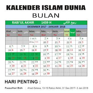 Kalender Islam Bersatu Bulan Rabiul Akhir 1439 H