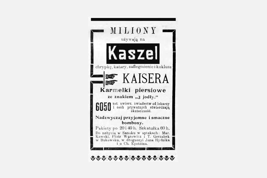 Retro :: Nadzwyczaj przyjemne bombony, reklama prasowa 1912.