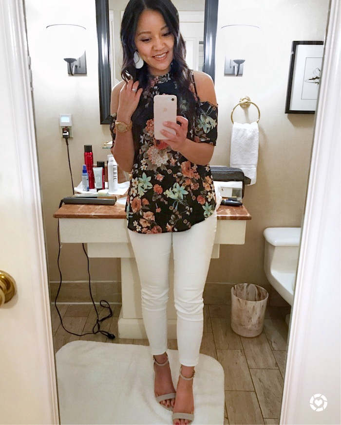floral cold shoulder top + white jeans + grey heels