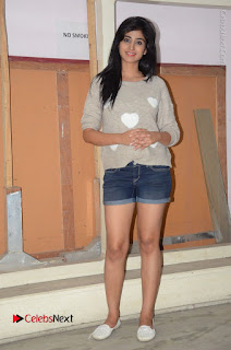 Actress Model Shamili (Varshini Sounderajan) Stills in Denim Shorts at Swachh Hyderabad Cricket Press Meet  0035.JPG