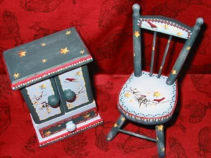 Hand Painted Chair and Cabinet