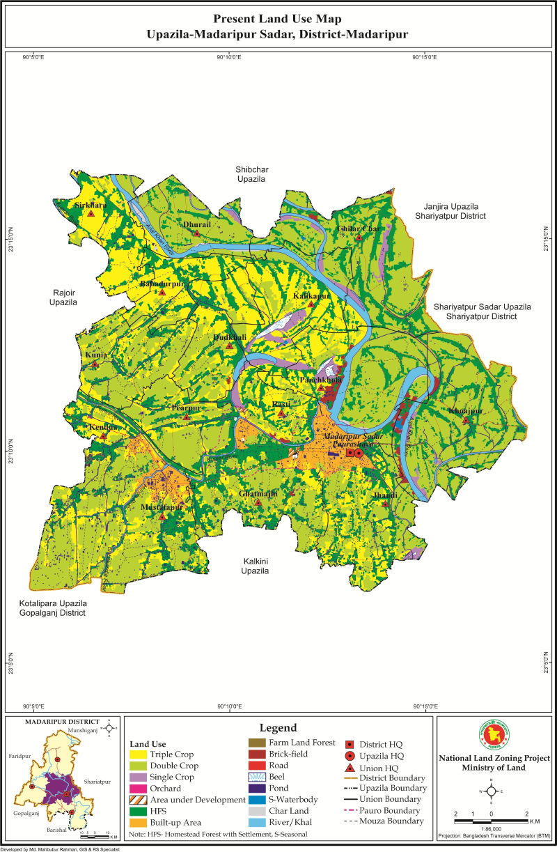 Madaripur Sadar Upazila Mouza Map Madaripur District Bangladesh
