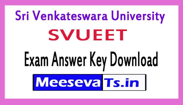 Sri Venkateswara University SVUEET Exam Answer Key Download 2018