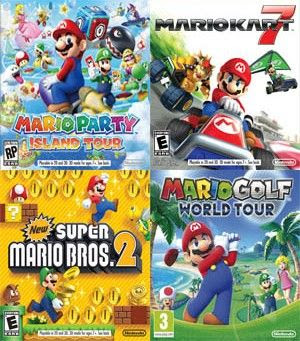 Mario Party Island Tour, New Super Mario bros 2, Mario Kart 7, Mario Golf World Tour, 3ds, español, mega, mediafire
