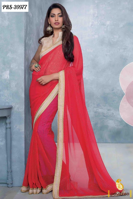 Karva Chauth special red silk designer saree online shopping at pavitraa.in