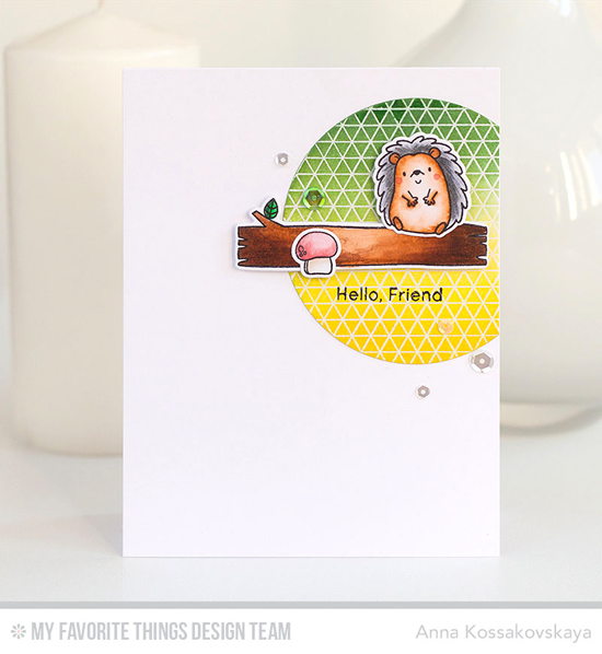 Handmade card from Anna Kossakovskaya featuring Birdie Brown Happy Hedgehogs stamp set and Die-namics, Geometric Grid Background Stamp  #mftstamps