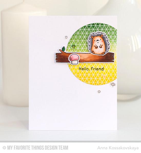 Handmade card from Anna Kossakovskaya featuring Birdie Brown Happy Hedgehogs stamp set and Die-namics, Geometric Grid Background Stamp  #mftstamps