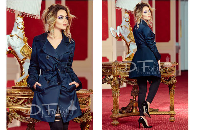 Trench dama online de toamna elegant bleumarin ieftin