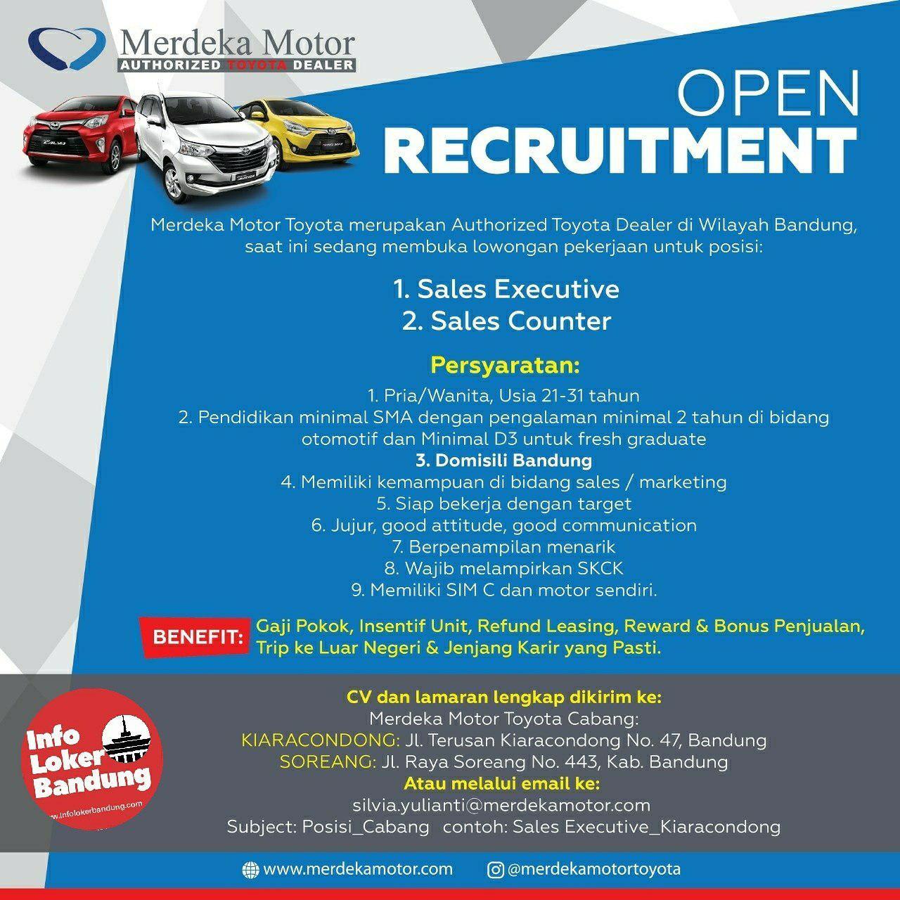 Lowongan Kerja Merdeka Motor Toyota Bandung Januari 2019