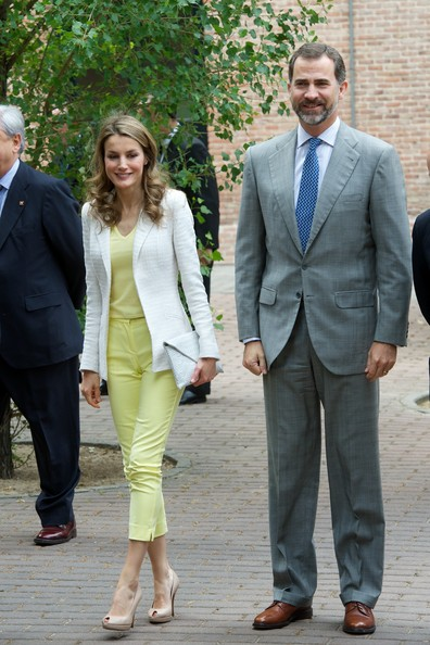 Princess Letizia of Spain and Prince Felipe of Spain visit a traditional Students Residence in Madrid, Spain