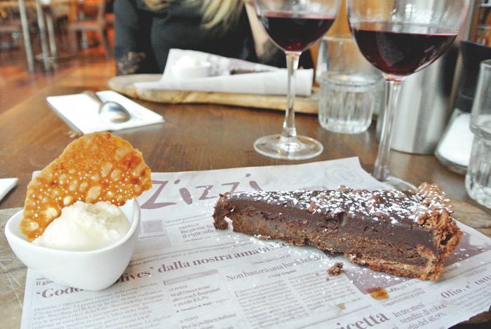 Chocolate praline & sea salt torte at Zizzi's Princes Square