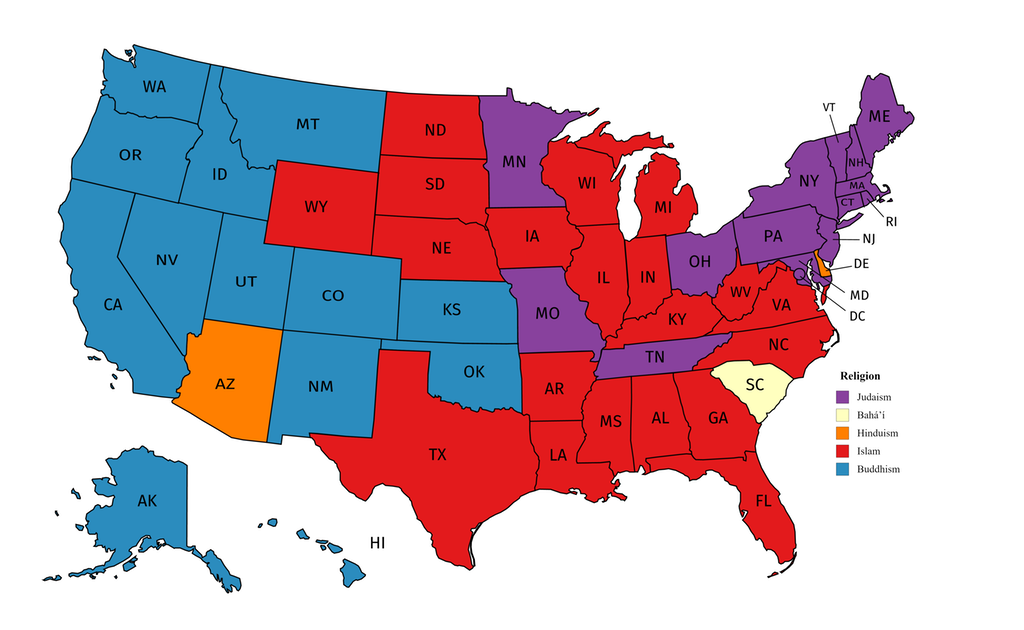 Largest non-Christian religion in each U.S. state