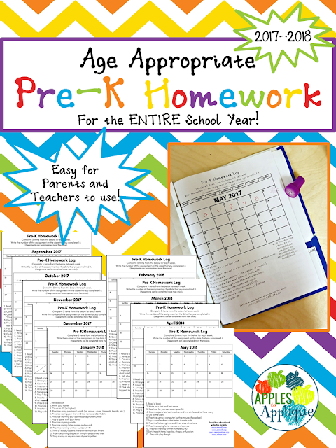 Age Appropriate Pre-K Homework for the ENTIRE School Year | Apples to Applique