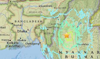 Earthquake epicenter map of Dhaka, Bangladesh