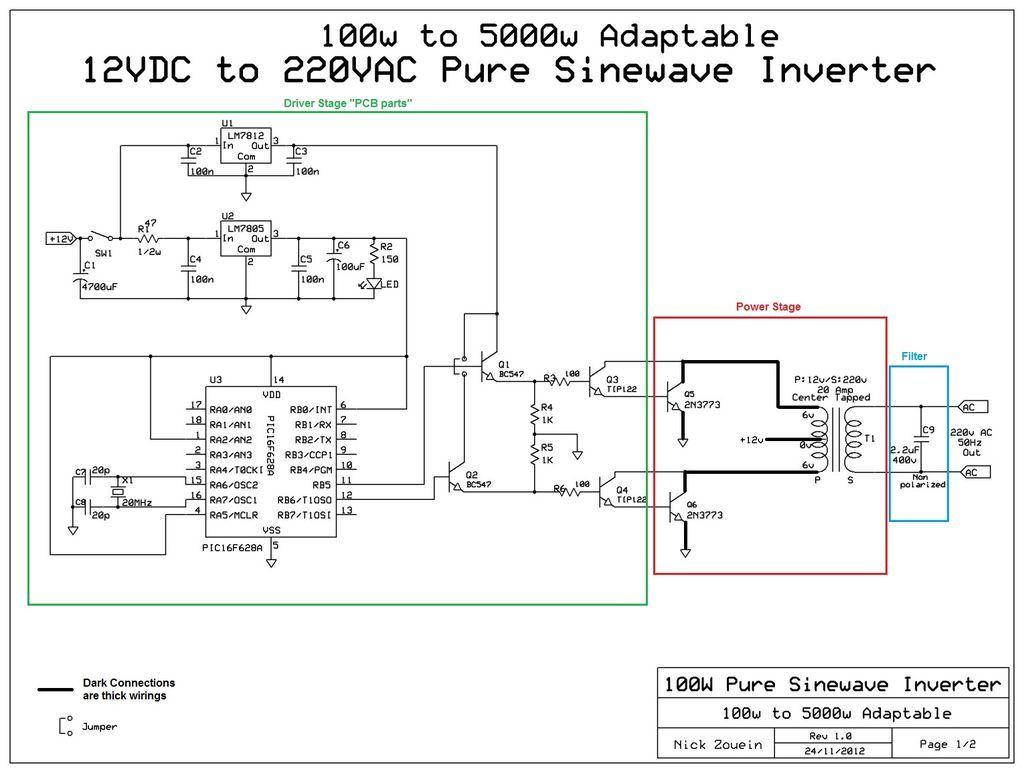 Wiring Diagram Of Ups How To Install Inverter In 2 Rooms Genie Intellicode Chain Glide Schematics Diagrams Sine 1000w Schematic