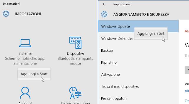 Aggiungere impostazioni Windows 10 a Start