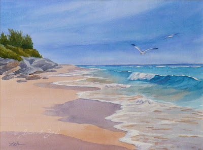 One of my Bermuda pink sand and ocean paintings
