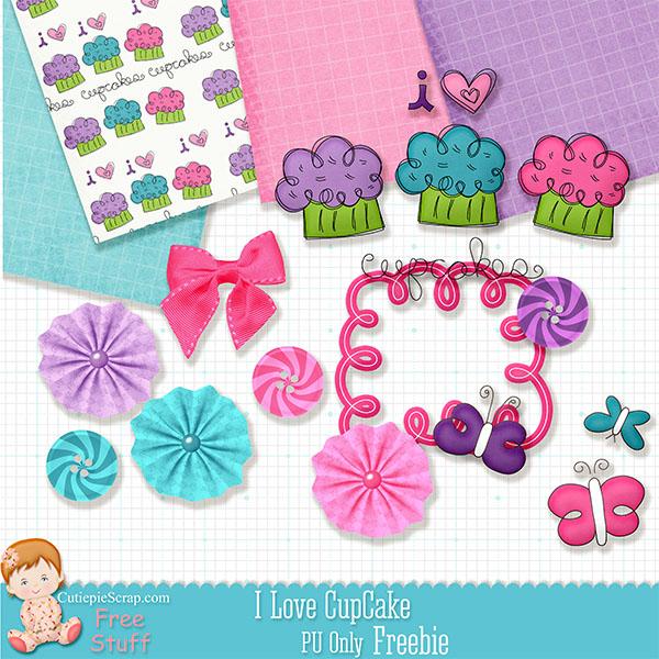 Free scrapbook I love cupcake