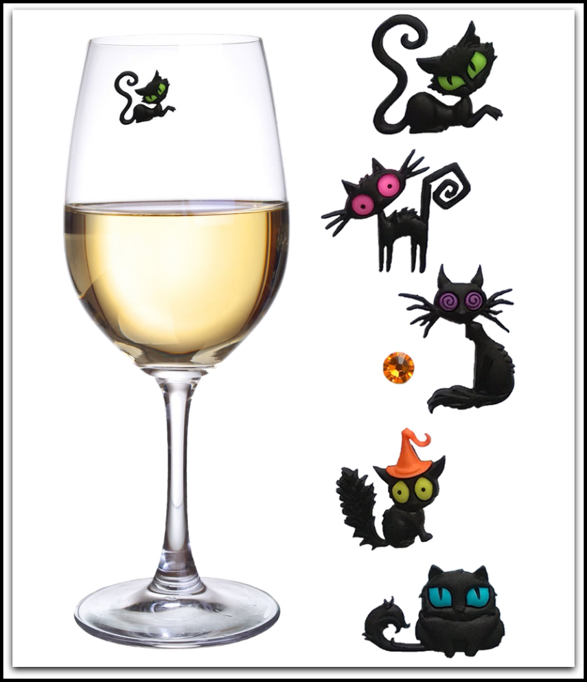Simply Charmed Black Cat Magnetic Wine Glass Charms or Markers Set of 6