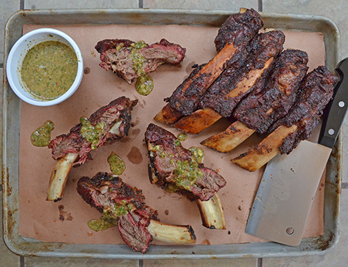 Smoked beef back ribs with chimichurri sauce