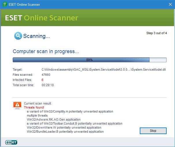 ESET Online Scanner scansione antivirus
