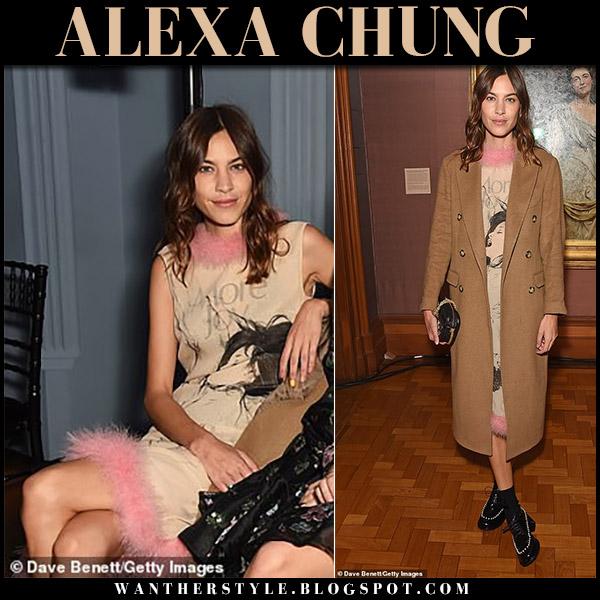 Alexa Chung in beige fur trim midi dress christopher kane london fashion week style september 17