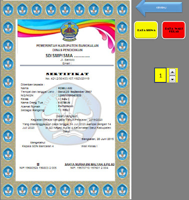 Aplikasi Piagam Penghargaan Prestasi Siswa di Sekolah Format Microsoft Excel