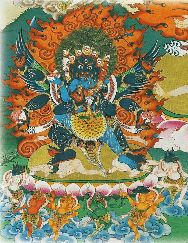 Wrathful deities of the Vajra family. Vajra Heruka in union with Vajrakrodhesvari. Thangkas painted by Shawu Tsering and photographed by Jill Morley Smith are in the private collection of Gyurme Dorje.