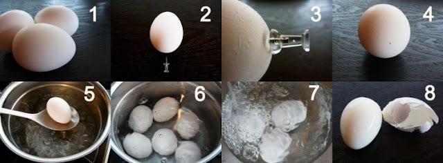 Praktisnya mengupas telur rebus