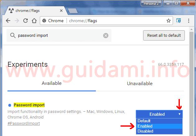 Chrome schermata flags attivare funzione Importa password