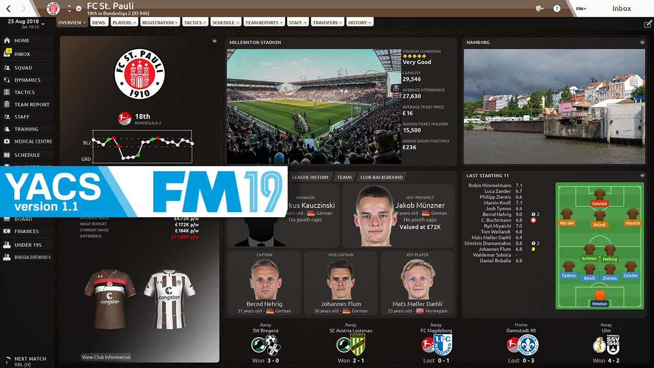 FM19 YACS - Football Manager 2019 Skin