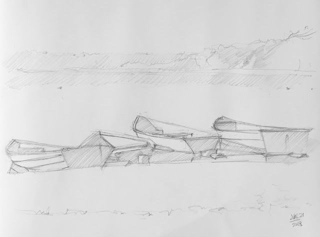 Daily Art 07-21-2018 foreshortening study of boats on water