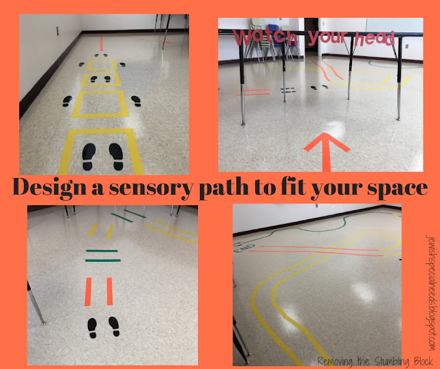"four images that show different parts of a path on a classroom floor made from colorful tape with the phrase ""Design a sensory break path to fit your space""; Removing the Stumbling Block"