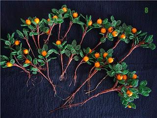 фото ветки с апельсинами дерева из бисера