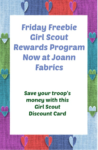 Free Girl Scout Rewards Program at Joann Fabrics. Leaders get 15% off all eligible purchases.