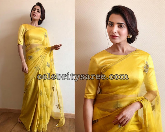 Samantha Akkineni Net Transparent Saree