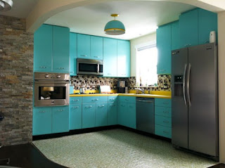Blue Metal Kitchen Cabinet