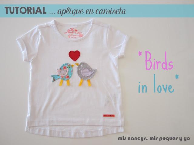 mis nancys, mis peques y yo, tutorial aplique en camiseta, birds in love